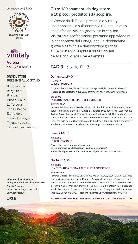Vinitaly: tutti gli appuntamenti con il Consorzio di Tutela Conegliano Valdobbiadene